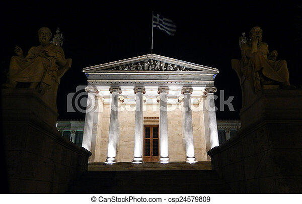 The Academy of Athens at night - csp24579809
