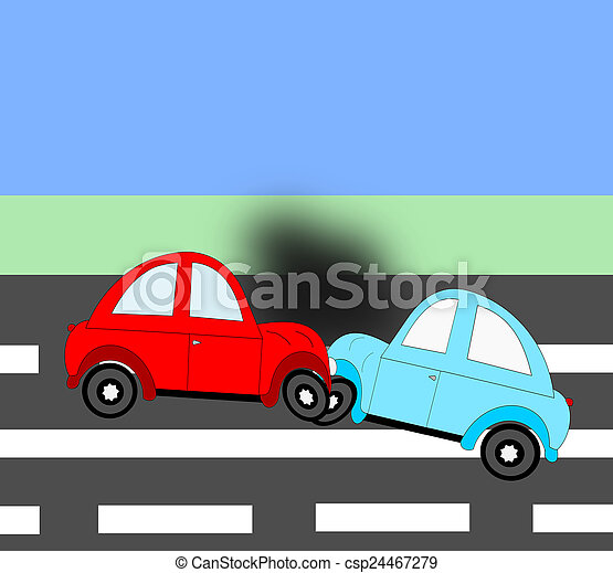 The accident, car accident two cars on the freeway - csp24467279