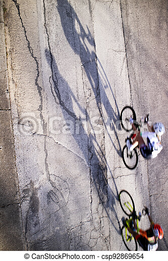 The action during a cycling race - csp92869654