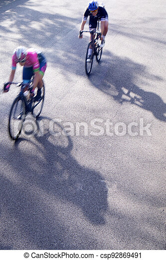 The action during a cycling race - csp92869491