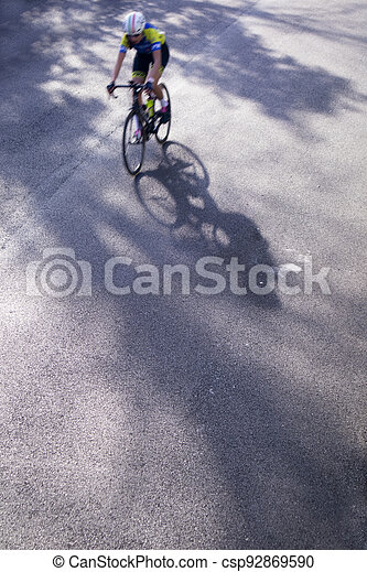 The action during a cycling race - csp92869590