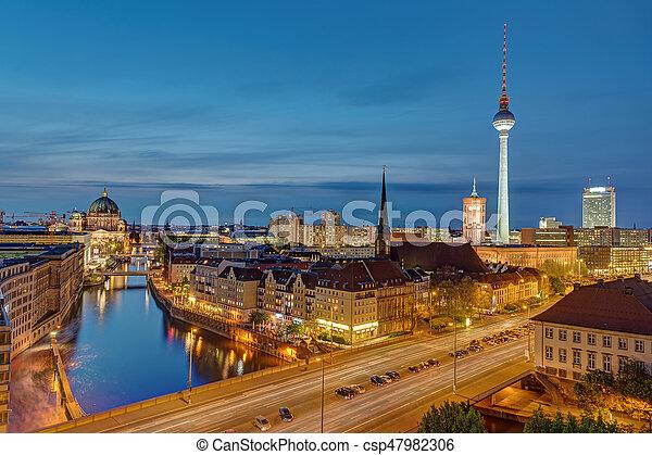 The Alexanderplatz in Berlin at night - csp47982306
