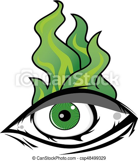 The All Seeing Eye - Green Firey Flame Illuminati Freemasonry Vector - csp48499329