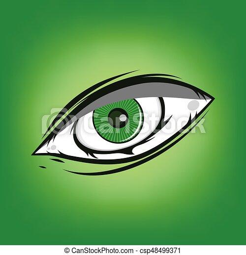 The All Seeing Eye - Green Firey Flame Illuminati Freemasonry Vector - csp48499371