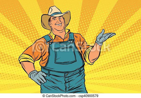 The American farmer in a cowboy hat - csp40900579