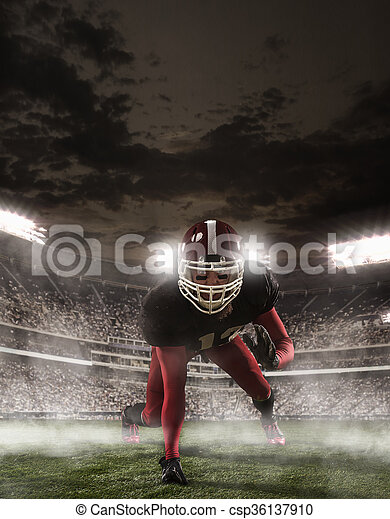 The american football player in action - csp36137910