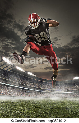 The american football player in action - csp35910121
