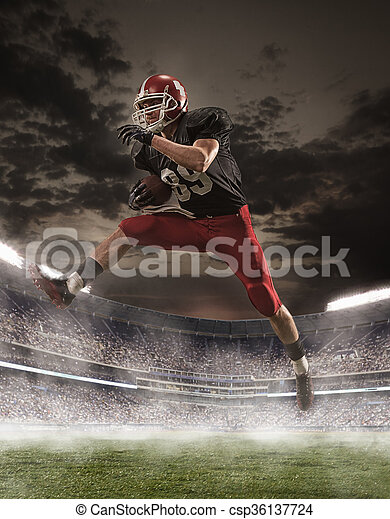 The american football player in action - csp36137724