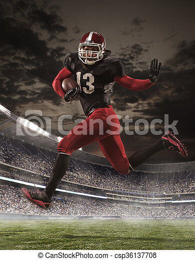 The american football player in action - csp36137708