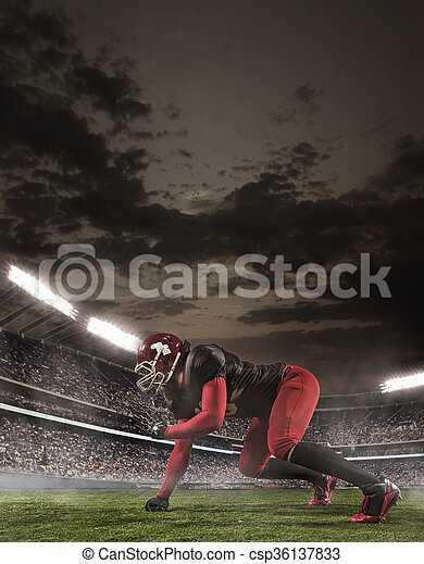 The american football player in action - csp36137833