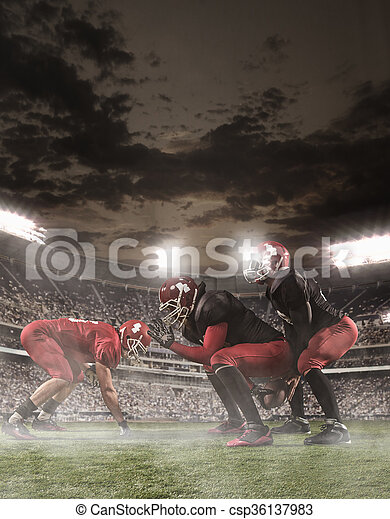 The american football players in action - csp36137983