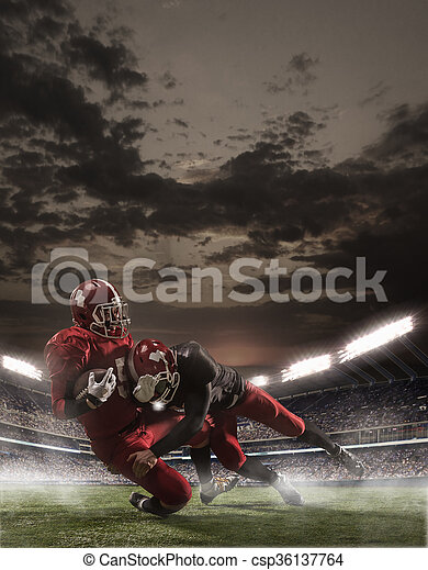The american football players in action - csp36137764