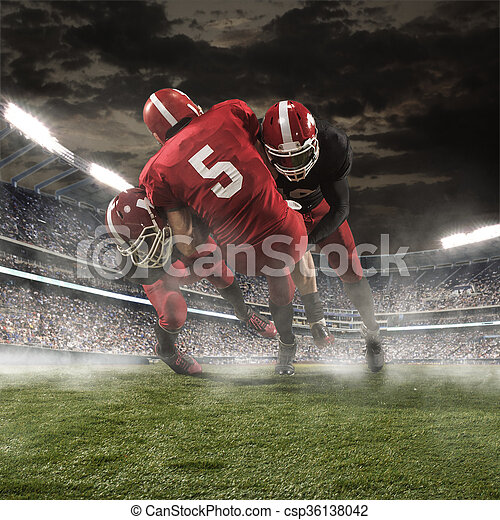 The american football players in action - csp36138042