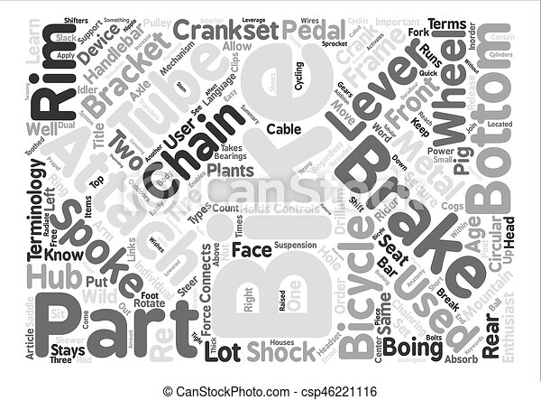 The anatomy of a mountain bike word cloud concept text background.