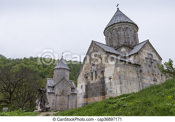 The ancient Haghartsin monastery is located near the town of Dilijan, in a wooded valley. Armenia - csp36897171
