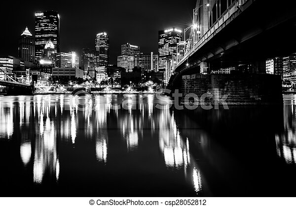 The Andy Warhol Bridge and skyline at night, in Pittsburgh, Pennsylvania. - csp28052812
