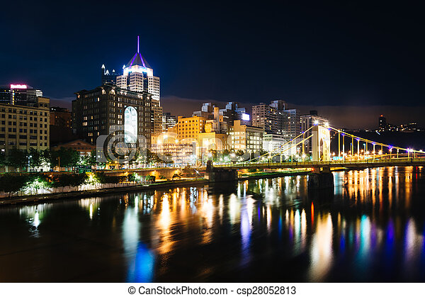 The Andy Warhol Bridge and skyline at night, in Pittsburgh, Pennsylvania. - csp28052813