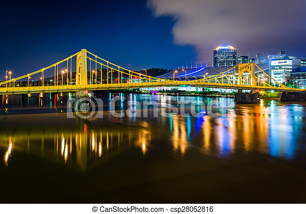 The Andy Warhol Bridge over the Allegheny River at night, in Pittsburgh, Pennsylvania. - csp28052816