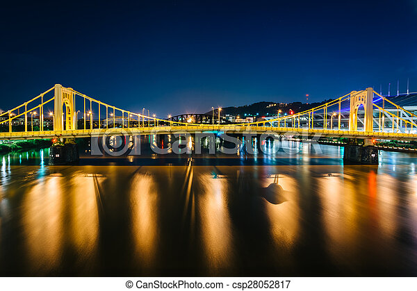 The Andy Warhol Bridge over the Allegheny River at night, in Pittsburgh, Pennsylvania. - csp28052817