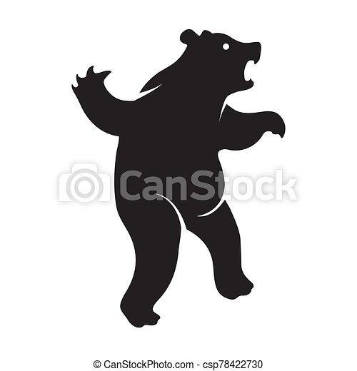 The angry bear logo is a black icon on a white isolated background. Vector image - csp78422730