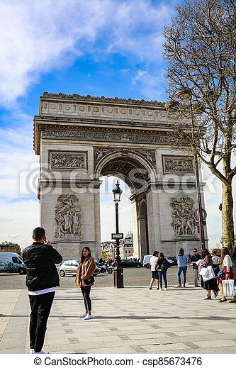 The Arc De triumph at Champs Elysees - csp85673476