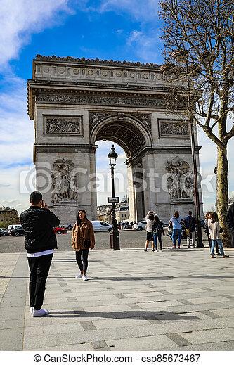 The Arc De triumph at Champs Elysees - csp85673467