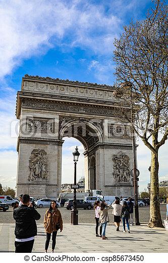 The Arc De triumph at Champs Elysees - csp85673450