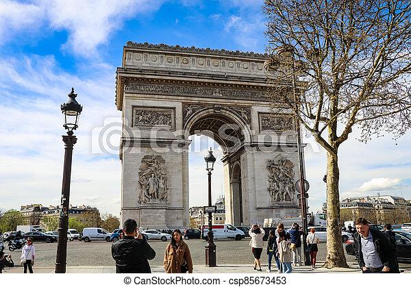 The Arc De triumph at Champs Elysees - csp85673453