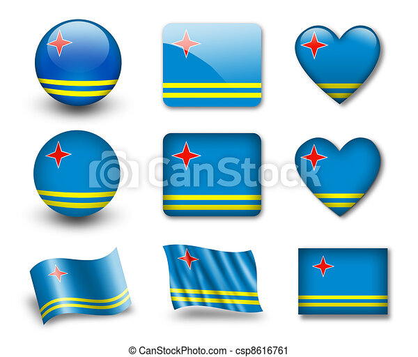 The Aruba Flag Set Of Icons And Flags Glossy And Matte On - Aruba flags