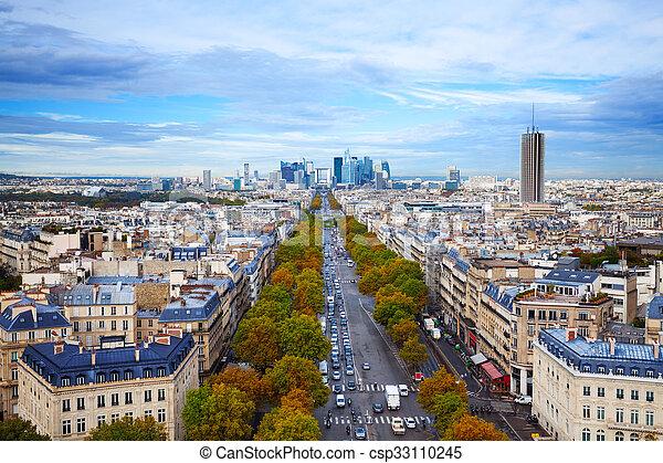 The Avenue des Champs-Elysees in Paris - csp33110245
