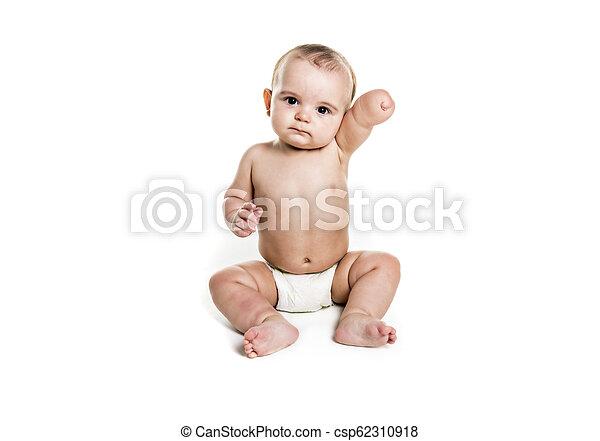 The Baby boy portrait on white background - csp62310918