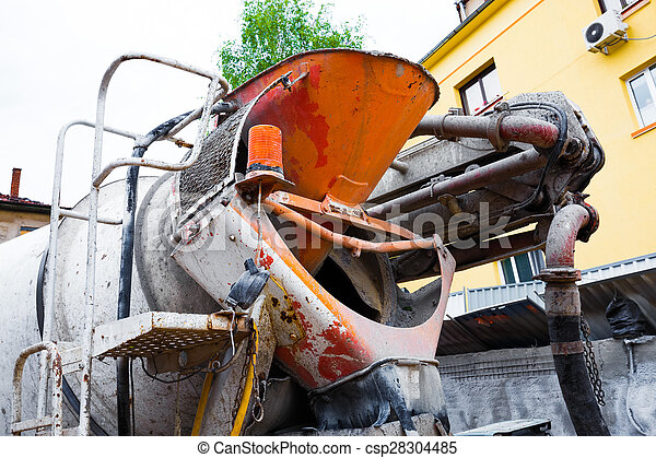 The back side of concrete truck - csp28304485