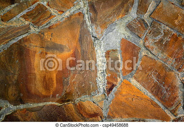 The Background Of Cement And Red Blocks On A Plain Textured Wall With Cracks Close Up