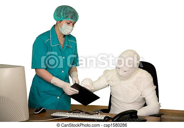 The bandaged boss and nurse - csp1580286