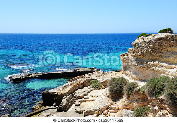 The beach and turquoise water on Mallorca island, Spain - csp38117569