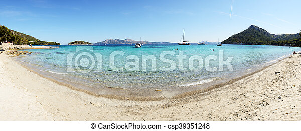 The beach and turquoise water on Mallorca island, Spain - csp39351248