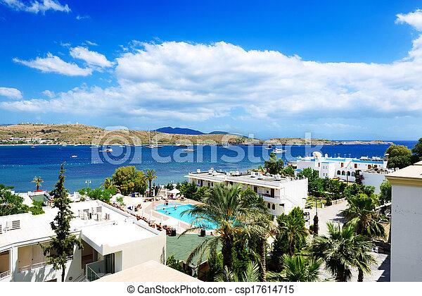 The beach on Aegean Turkish resort, Bodrum, Turkey - csp17614715