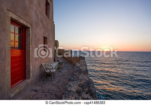 The beautiful Byzantine castle town of Monemvasia in Laconia at sunset - csp41486383
