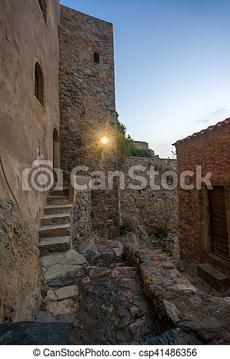 The beautiful Byzantine castle town of Monemvasia in Laconia at sunset - csp41486356