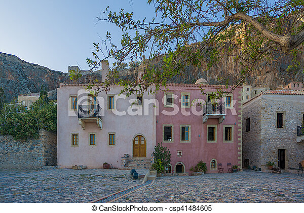 The beautiful Byzantine castle town of Monemvasia in Laconia - csp41484605