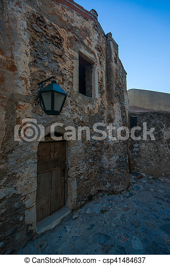 The beautiful Byzantine castle town of Monemvasia in Laconia at sunset - csp41484637