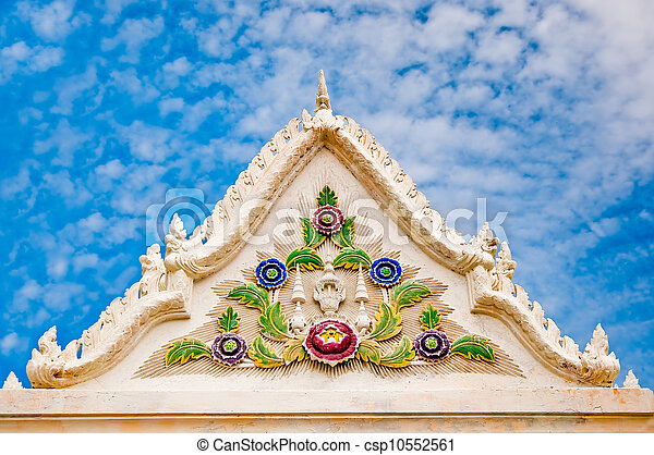 The Beautiful front of pavilion in temple on blue sky background - csp10552561