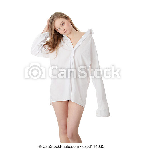 The beautiful girl in a white men shirt - csp3114035