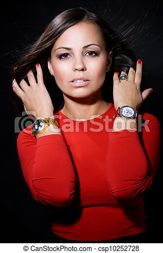 The beautiful girl with a wrist watch - csp10252728