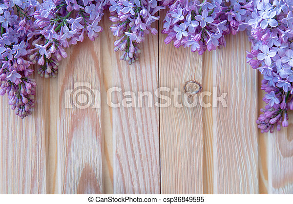 The beautiful lilac on a wooden background - csp36849595