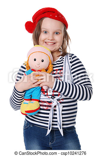 The beautiful little girl with a rag doll - csp10241276