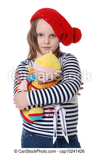The beautiful little girl with a rag doll - csp10241426