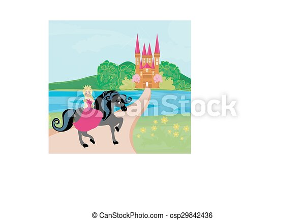 The Beautiful princess and her cute horse - csp29842436