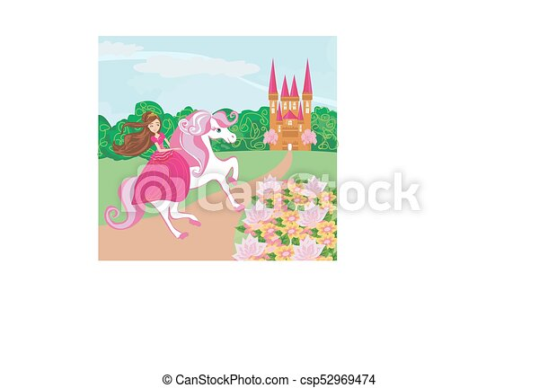 The Beautiful princess and her cute horse - csp52969474