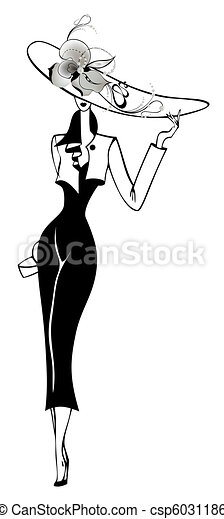 The beautiful woman in a black dress - csp6031186